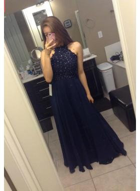 Princess/A-Line Chiffon Dark Navy 2019 Cheap Prom Dresses