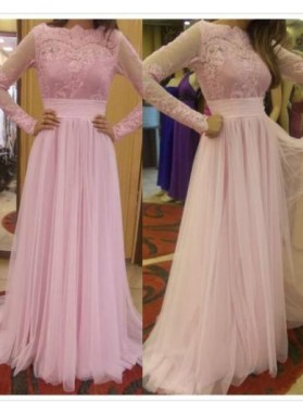 Long Sleeves Pink Tulle 2019 Cheap Prom Dresses