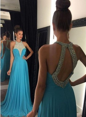 2021 Cheap Princess/A-Line Chiffon Backless Prom Dresses