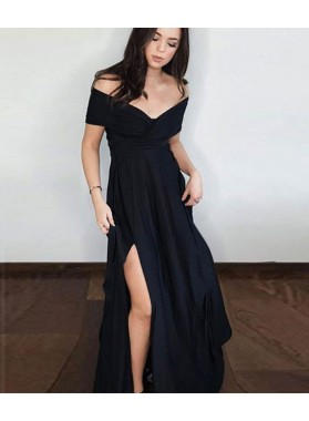 2019 Cheap Black Princess/A-Line Satin Side Slit Off The Shoulder Prom Dresses