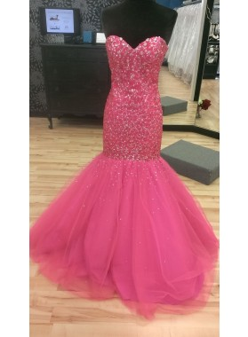 Mermaid/Trumpet Sweetheart Fuchsia Tulle Prom Dresses