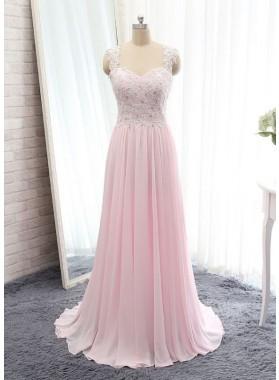 Chiffon Princess/A-Line Pale Pink Prom Dresses