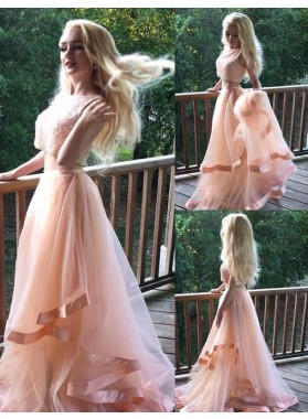 2019 Charming Princess/A-Line Two Pieces Blushing Pink Tulle Prom Dresses