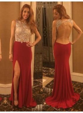 2019 Cheap Column/Sheath Burgundy Side Slit Backless Prom Dresses