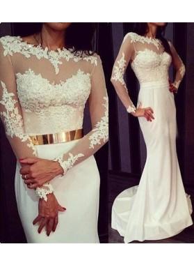2019 Siren White Mermaid/Trumpet Long Sleeves Chiffon Prom Dresses