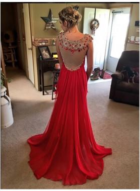 2019 Cheap Princess/A-Line Chiffon Red Beaded Prom Dresses