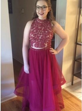 2019 Cheap Princess/A-Line Tulle Burgundy Prom Dresses