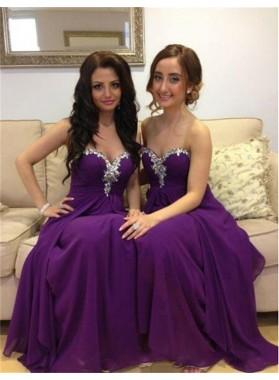 2019 Cheap Princess/A-Line Purple Sweetheart Chiffon Prom Dresses