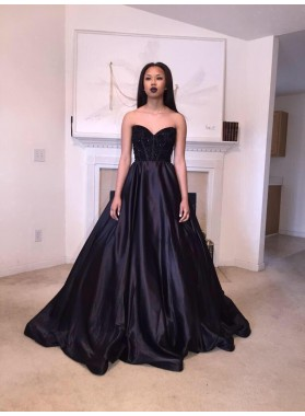 New Arrival Princess/A-Line Black Satin Sweetheart Prom Dresses
