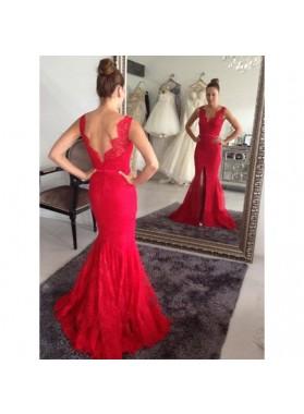 Red Mermaid/Trumpet Lace Side Slit Prom Dresses