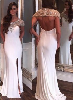 2019 Siren Column/Sheath White Backless Prom Drses