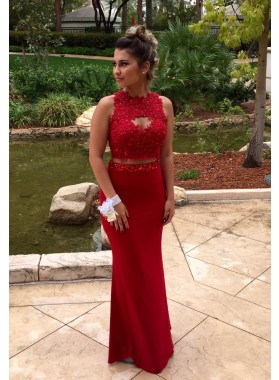 2019 Charming Column/Sheath Red Two Pieces Prom Dresses