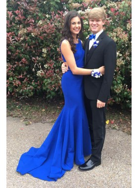 2020 Siren Mermaid/Trumpet Royal Blue Satin Prom Dresses
