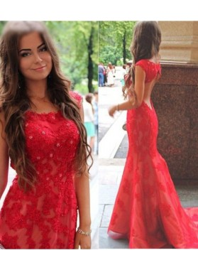 Mermaid/Trumpet Red Lace Backless Prom Dresses