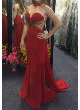 Red Column/Sheath Sweetheart Prom Dresses