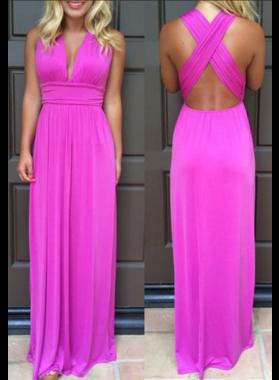 Chiffon Princess/A-Line Fuchsia Floor Length Prom Dresses