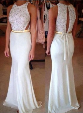 Mermaid/Trumpet White Satin Prom Dresses