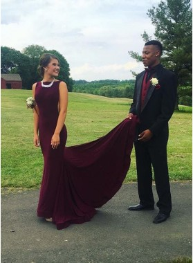 Simple Mermaid/Trumpet Burgundy Prom Dresses