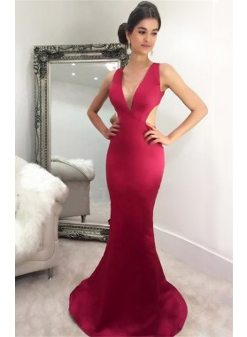 2021 Sexy Mermaid/Trumpet Burgundy Satin Prom Dresses
