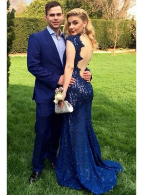 2019 Siren Column/Sheath Sweetheart Lace Navy Blue Prom Dresses