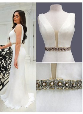 Column/Sheath White Satin Beaded Prom Dresses
