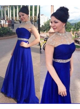 Chiffon Royal Blue Beaded Prom Dresses