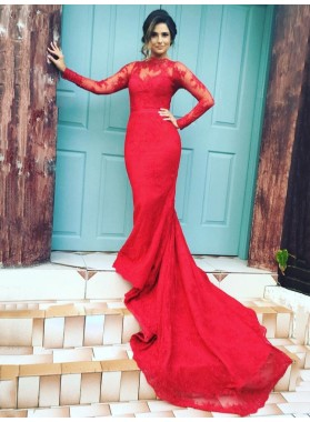 Mermaid/Trumpet Red Long Sleeves Lace Prom Dresses