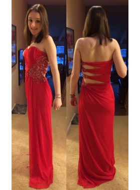 2019 Cheap Princess/A-Line Red Chiffon Sweetheart Prom Dresses