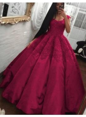 Designer Fuchsia Satin Sweetheart Ball Gown Prom Dresses