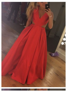2019 Cheap Princess/A-Line Satin Coral Prom Dresses
