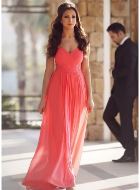 2019 Cheap Princess/A-Line Chiffon Sweetheart Coral Prom Dresses