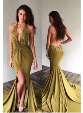 2021 Sexy Mermaid/Trumpet Halter Side Slit Prom Dresses