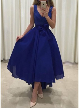 2019 Cheap Princess/A-Line Chiffon Royal Blue Prom Dresses