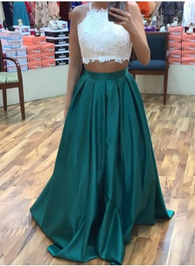 2019 Charming Princess/A-Line Teal And White Two Pieces Satin Prom Dresses
