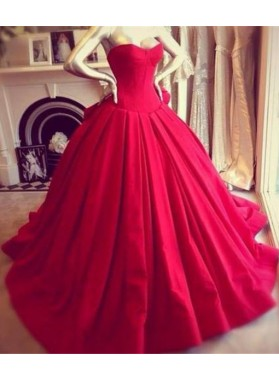Designer Sweetheart Red Ball Gown Prom Dresses