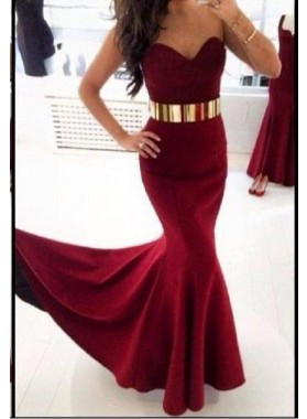 2020 Sexy Mermaid/Trumpet Sweetheart Burgundy Prom Dresses