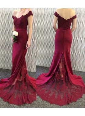 2019 Cheap Column/Sheath Burgundy Satin Off The Shoulder Prom Dresses