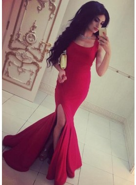 2019 Sexy Mermaid/Trumpet Square Satin Side Slit Prom Dresses