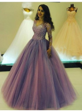 2019 Elegant Tulle Long Sleeves Tulle Ball Gown Prom Dresses