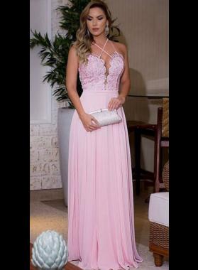2019 Cheap Princess/A-Line Chiffon Pink Prom Dresses