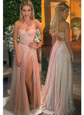 2019 Cheap Princess/A-Line Sweetheart Side Slit Prom Dresses