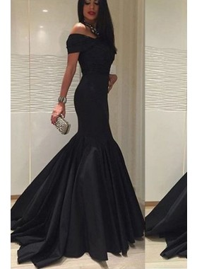 2019 Sexy Mermaid Back Off The Shoulder Satin Black Prom Dresses