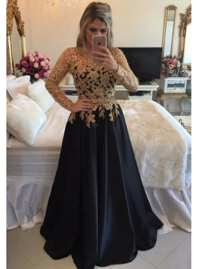 2019 Charming Princess/A-Line Black Long Sleeves With Gold Appliques Prom Dresses