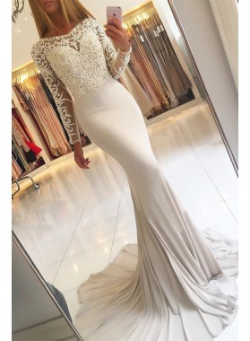 2021 Elegant Mermaid Long Sleeves Prom Dresses With Appliques