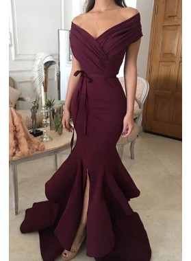 Mermaid Off The Shoulder Burgundy Satin Prom Dresses
