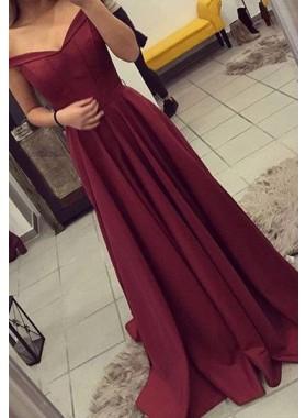 Princess/A-Line Burgundy Satin Sweep Train Off The Shoulder Prom Dresses