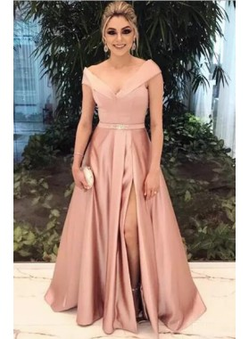 2021 Cheap Princess/A-Line Pink Satin Side Slit Off The Shoulder Prom Dresses