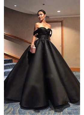 2019 Charming Black Ball Gown Sweetheart Satin Prom Dresses