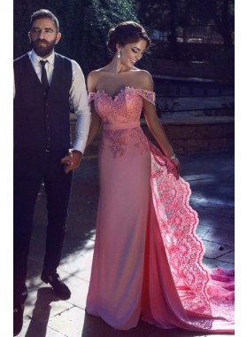 Pink Satin Sweetheart Satin Lace Prom Dresses