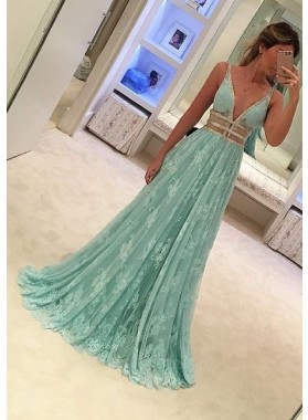 2019 Charming Princess/A-Line Deep V-neck Lace Prom Dresses
